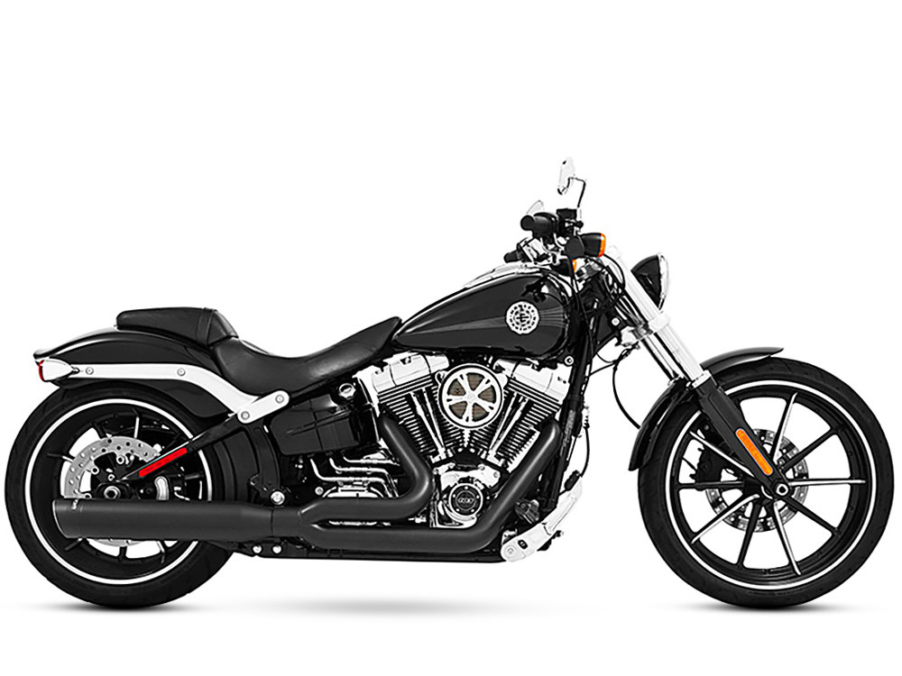 Union 2-into-1 Exhaust with Black Finish & Black End Caps. Fits Softail Breakout 2013-2017 & Rocker 2008-2011 Models.