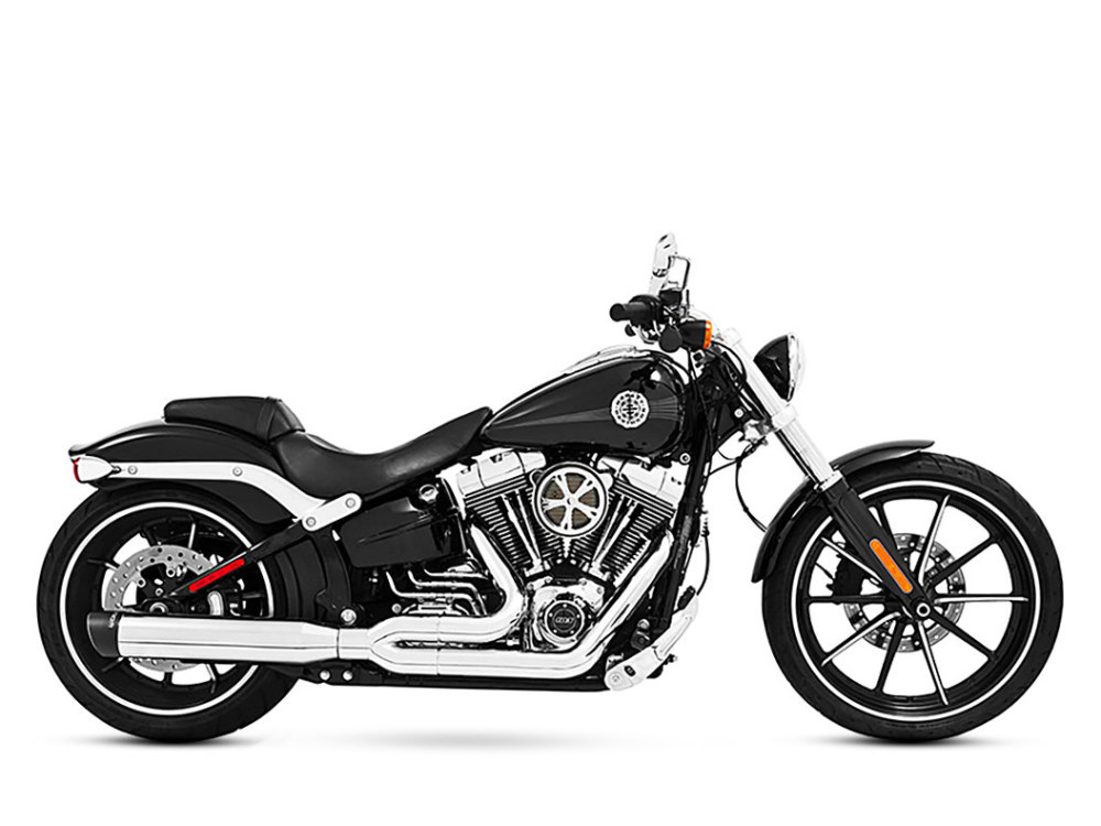 Union 2-into-1 Exhaust - Chrome with Black End Cap. Fits Softail Breakout 2013-2017 & Rocker 2008-2011.