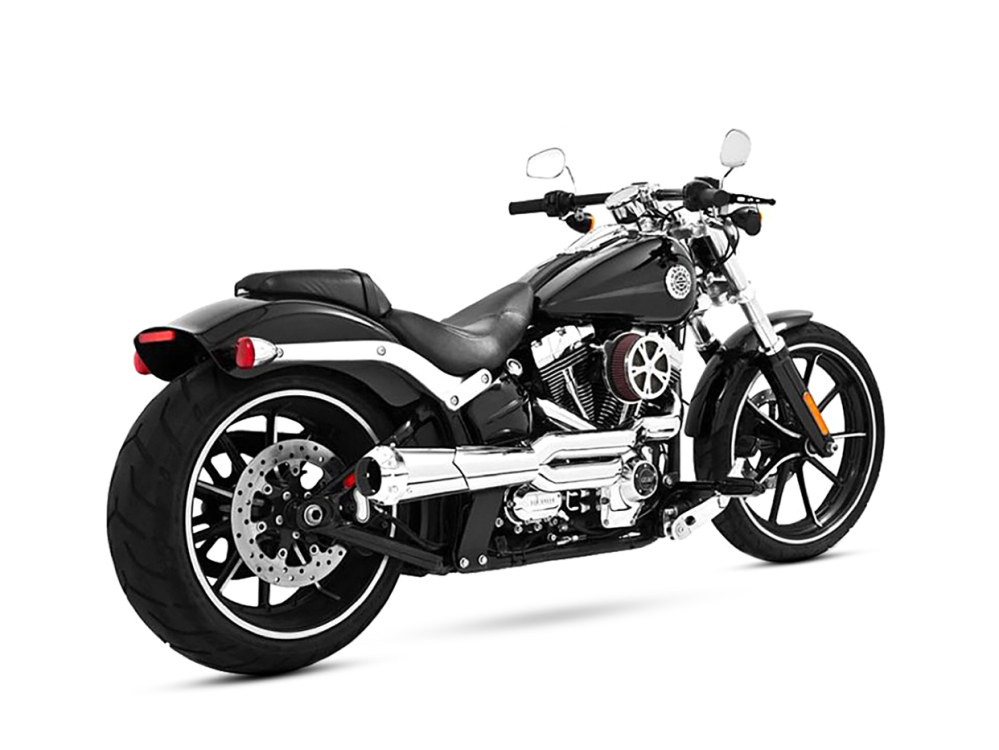 American Outlaw 2-into-1 Exhaust - Chrome with Chrome End Cap. Fits Softail Breakout 2013-2017 & Rocker 2008-2011.