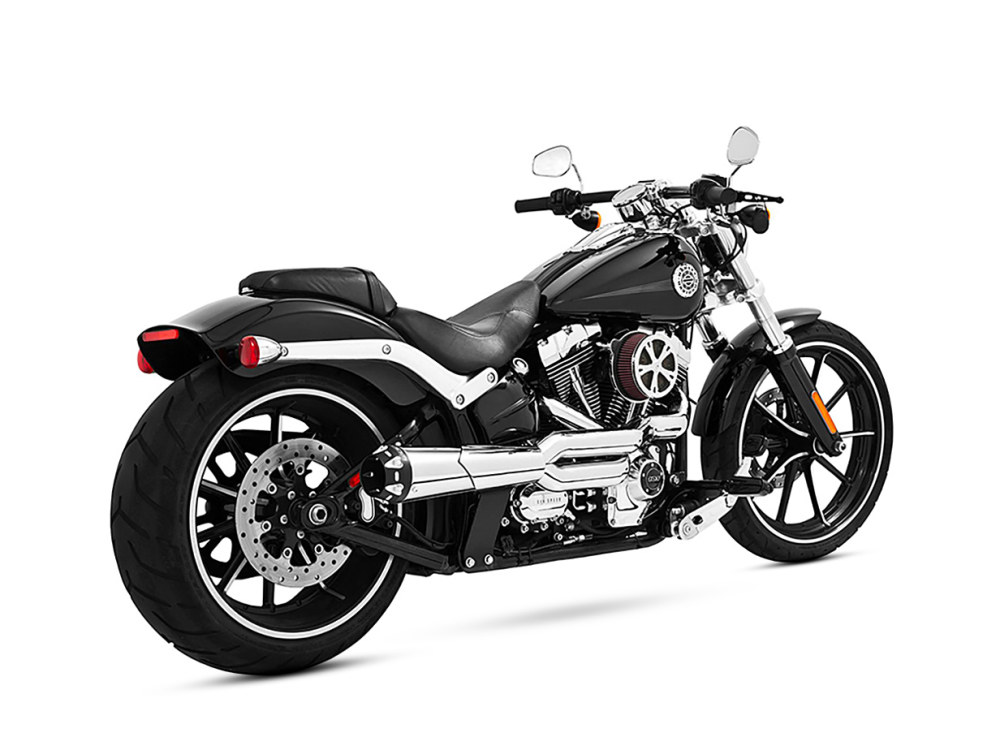 American Outlaw 2-into-1 Exhaust - Chrome with Black End Cap. Fits Softail Breakout 2013-2017 & Rocker 2008-2011.