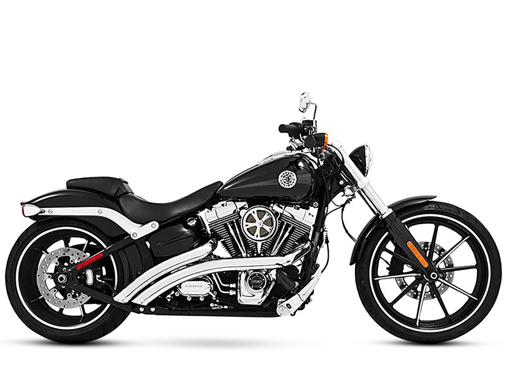 Radical Radius Exhaust with Chrome Finish & Chrome End Caps. Fits Softail Breakout 2013-2017 & Rocker 2008-2011 Models.