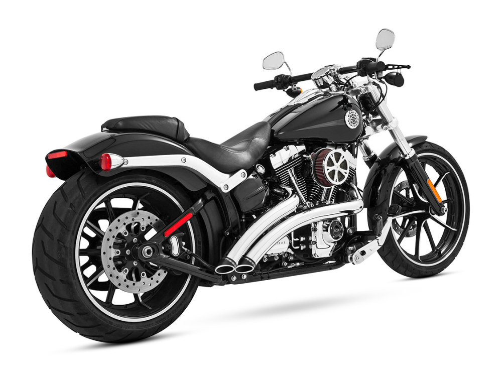 Radical Radius Exhaust with Chrome Finish & Black End Caps. Fits Softail Breakout 2013-2017 & Rocker 2008-2011 Models.