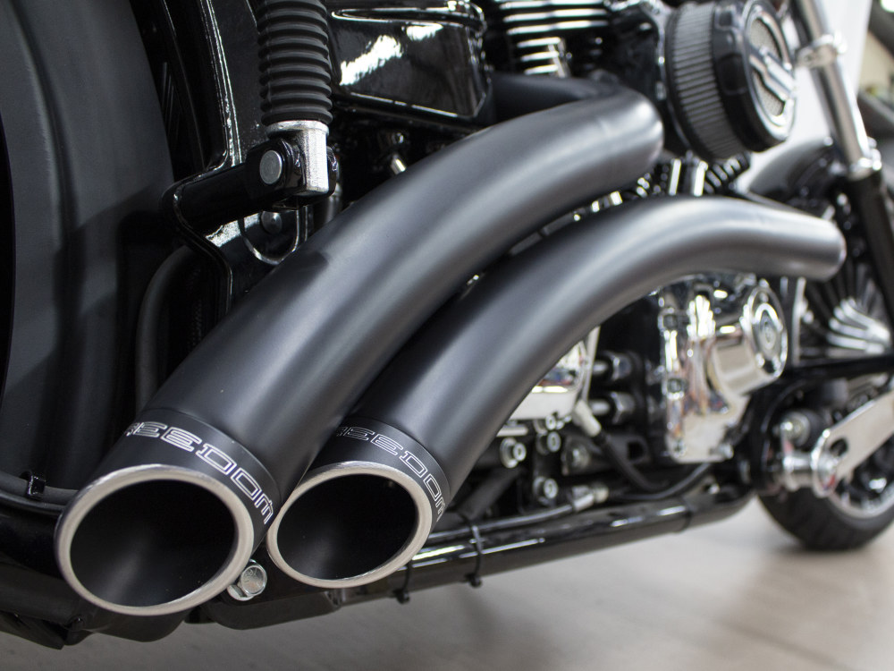 Radical Radius Exhaust - Black with Black End Caps. Fits Softail Breakout 2013-2017 & Rocker 2008-2011.