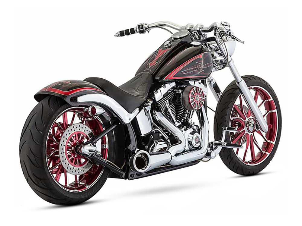 2-into-1 Turnout Exhaust with Chrome Finish & Black End Cap. Fits Softail 1986-2017.