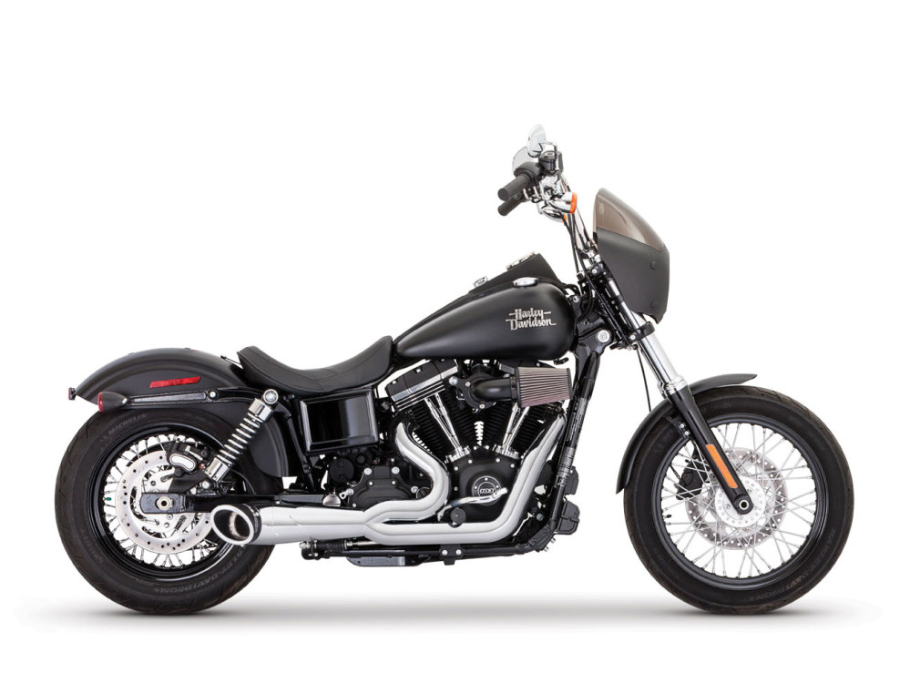 2-into-1 Turnout Exhaust with Chrome Finish & Black End Caps. Fits Dyna 2006-2017.