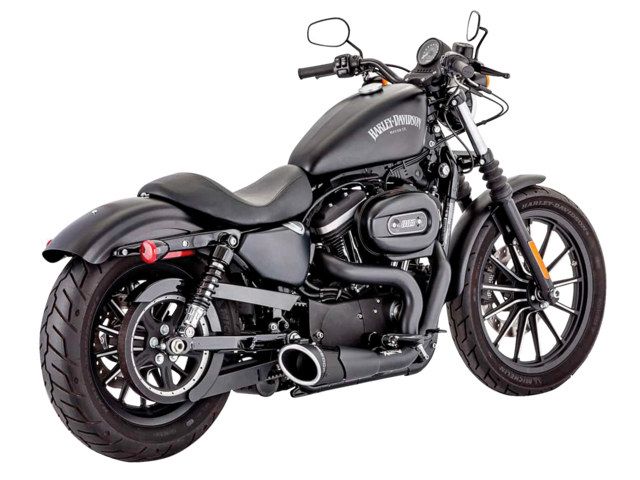 Combat 2-into-1 Exhaust - Black with Black End Cap. Fits Sportster 2004up.
