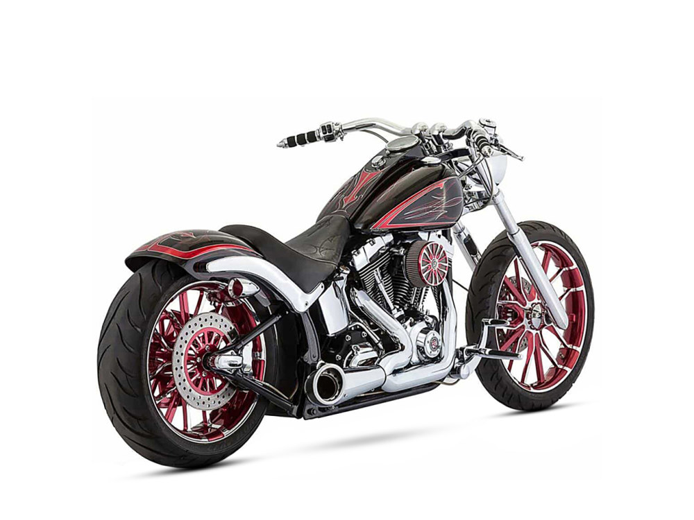 Turnout 2-into-1 Exhaust with Chrome Finish & Black End Cap. Fits Softail Breakout 2013-2017 & Rocker 2008-2011 Models.