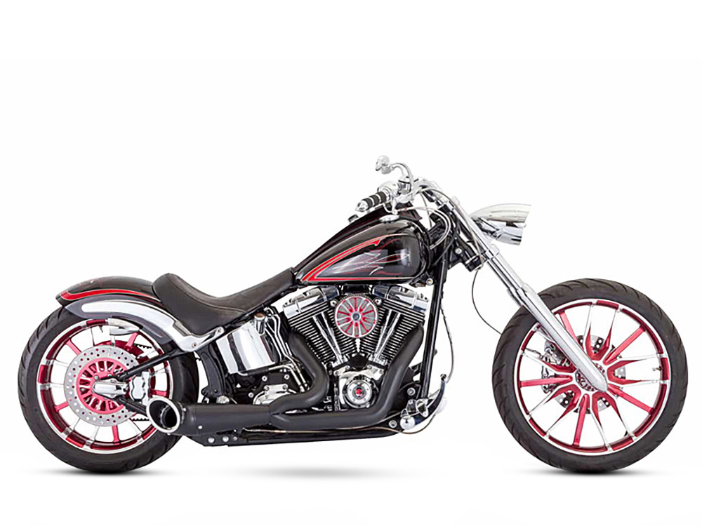 2-into-1 Turnout Exhaust with Black Finish & Black End Cap. Fits Softail Breakout 2013-2017 & Rocker 2008-2011 Models.