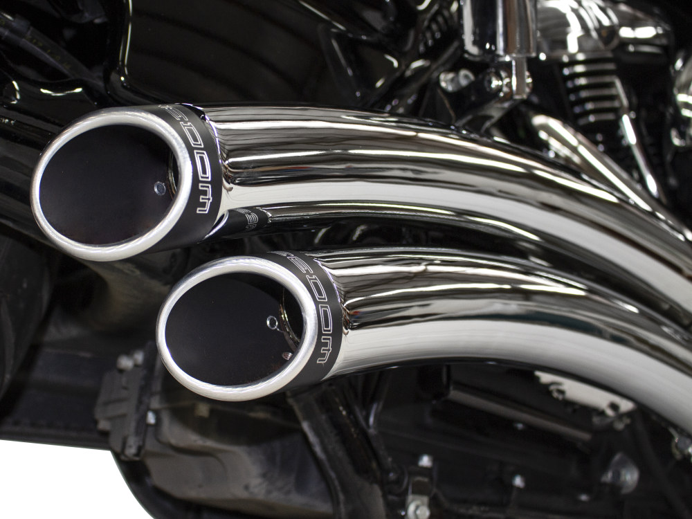 Sharp Curve Radius Exhaust with Chrome Finish & Black End Caps. Fits Touring 2017up.