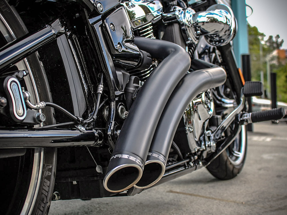 Radical Radius Exhaust with Black Finish & Black End Caps. Fits Softail 2018up.
