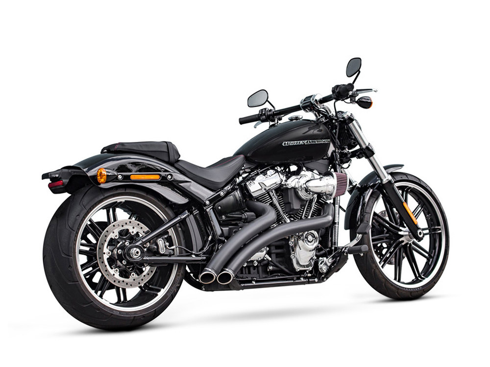 Radical Radius Exhaust - Black with Black End Caps. Fits Softail 2018up.