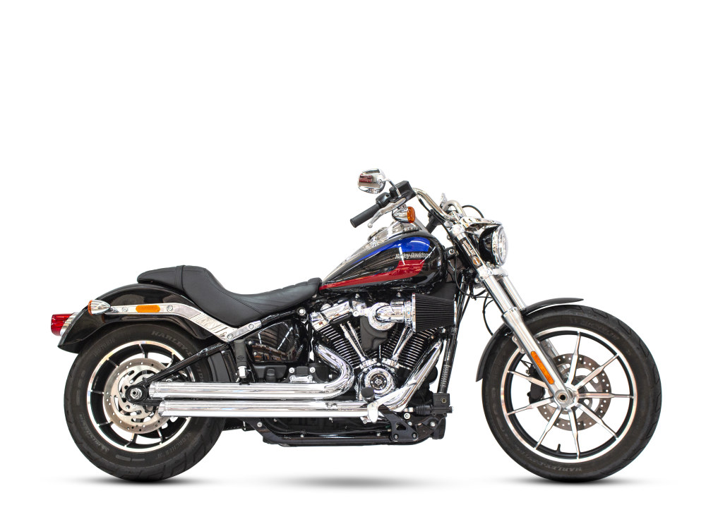 Independence Staggered Slash Exhaust - Chrome with Chrome End Caps. Fits Softail 2018up.