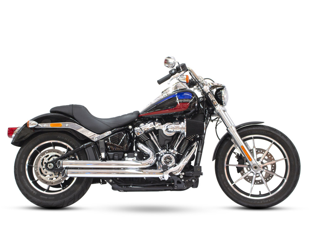 Independence Staggered Slash Exhaust - Chrome with Black End Caps. Fits Softail 2018up.