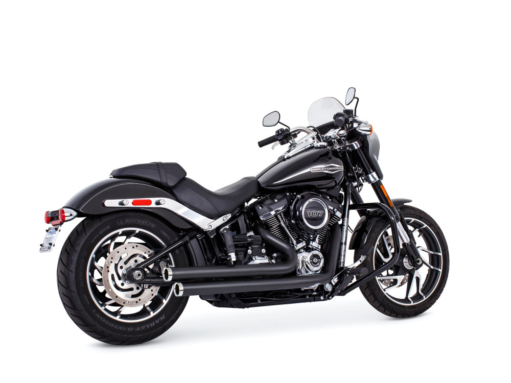 Independence Staggered Exhaust - Black with Chrome End Caps. Fits Softail 2018up.