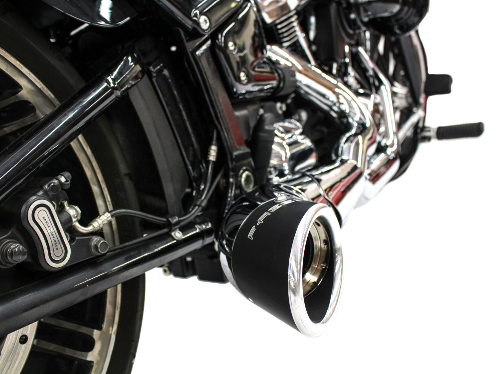 Turnout 2-into-1 Exhaust - Chrome with Black End Cap. Fits Softail 2018up.