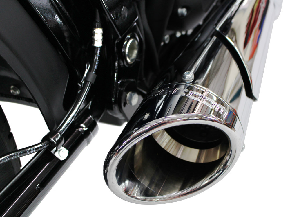 Combat Shorty 2-into-1 Exhaust - Chrome with Chrome Billet End Cap. Fits Softail 2018up.