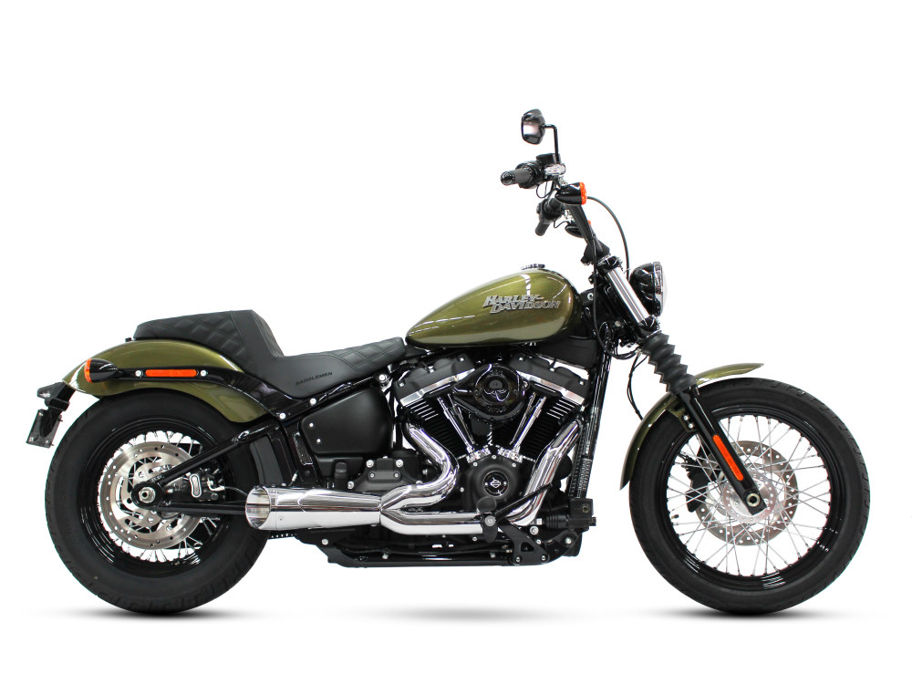 Combat Shorty 2-into-1 Exhaust with Chrome Finish & Chrome Billet End Cap. Fits Softail 2018up.