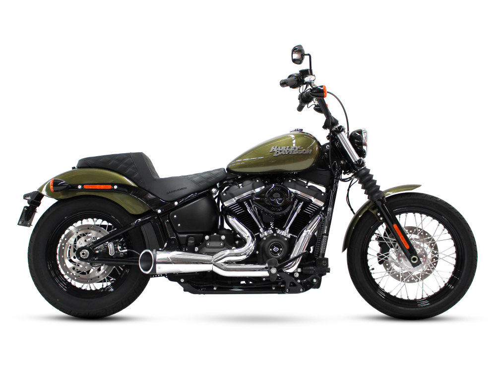 Combat Shorty 2-into-1 Exhaust with Chrome Finish & Black Billet End Cap. Fits M8 Softail 2018up.