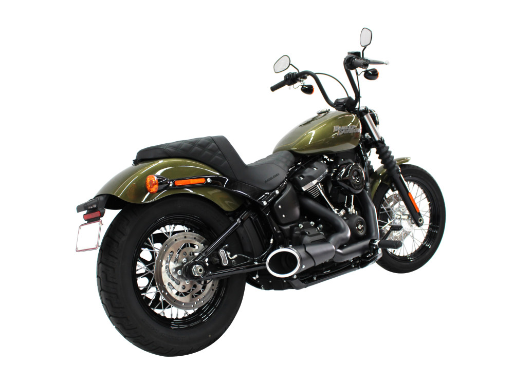 Combat Shorty 2-into-1 Exhaust - Black with Black End Cap. Fits Softail 2018up.