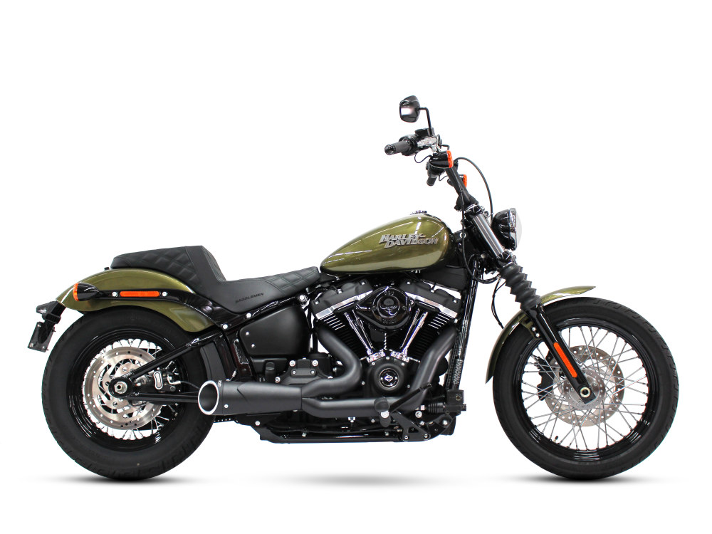 Combat Shorty 2-into-1 Exhaust with Black Finish & Black Billet End Cap. Fits Softail 2018up.