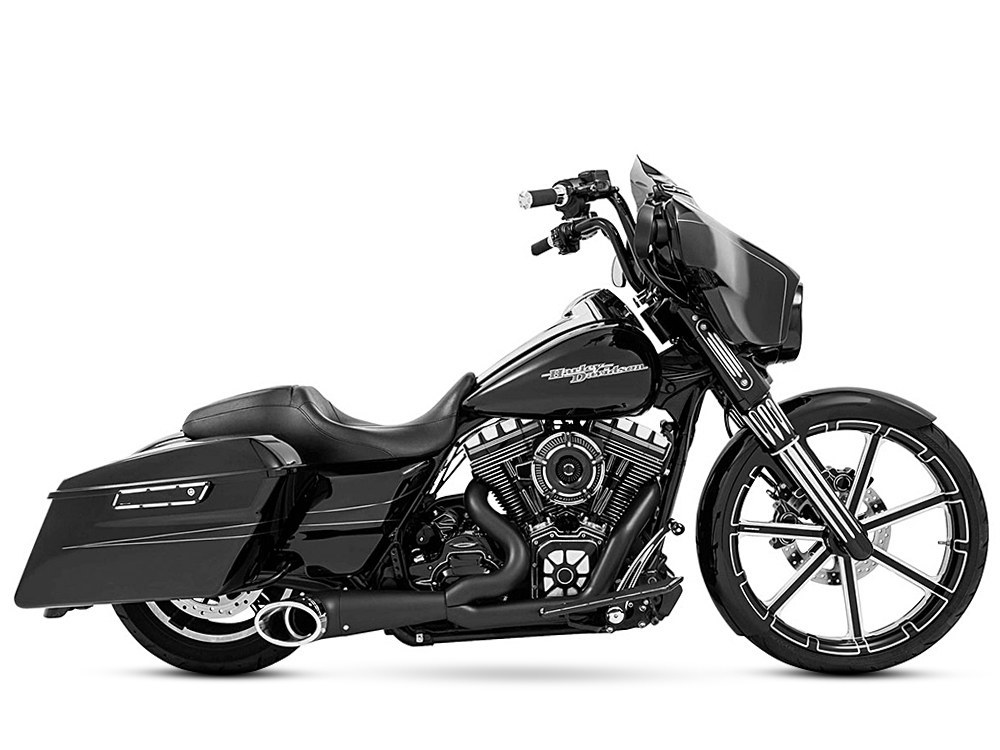 2-into-1 Turnout Exhaust with Black Finish & Black Sculpted End Cap. Fits Touring 1995-2016.