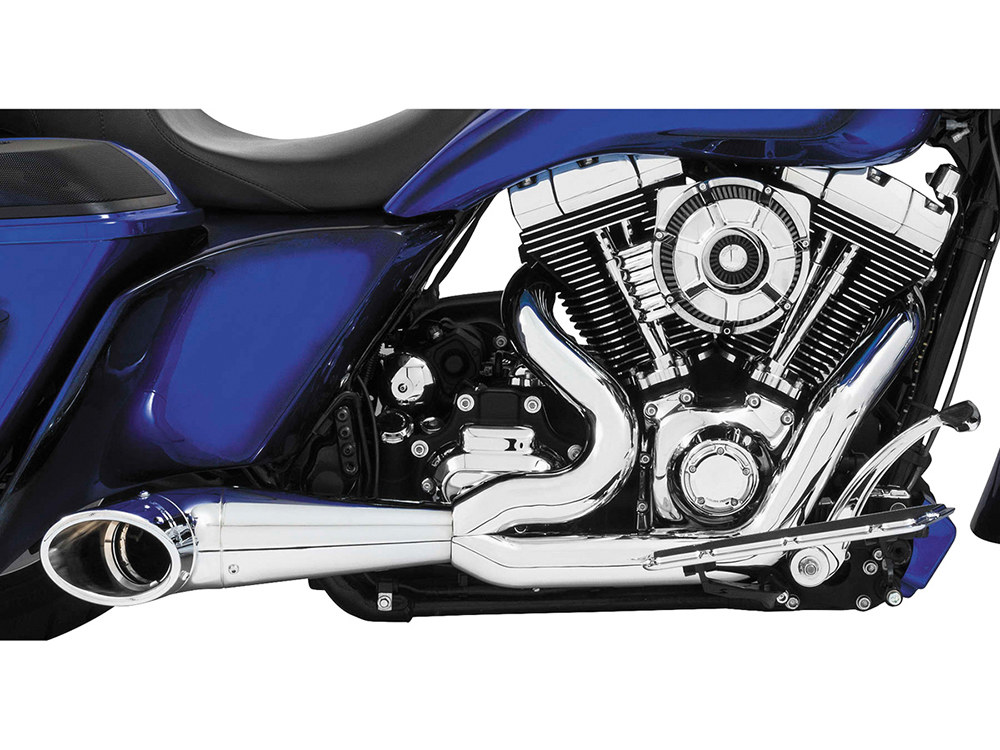 2-into-1 Turnout Exhaust with Chrome Finish & Chrome End Cap. Fits M8 Touring 2017up.