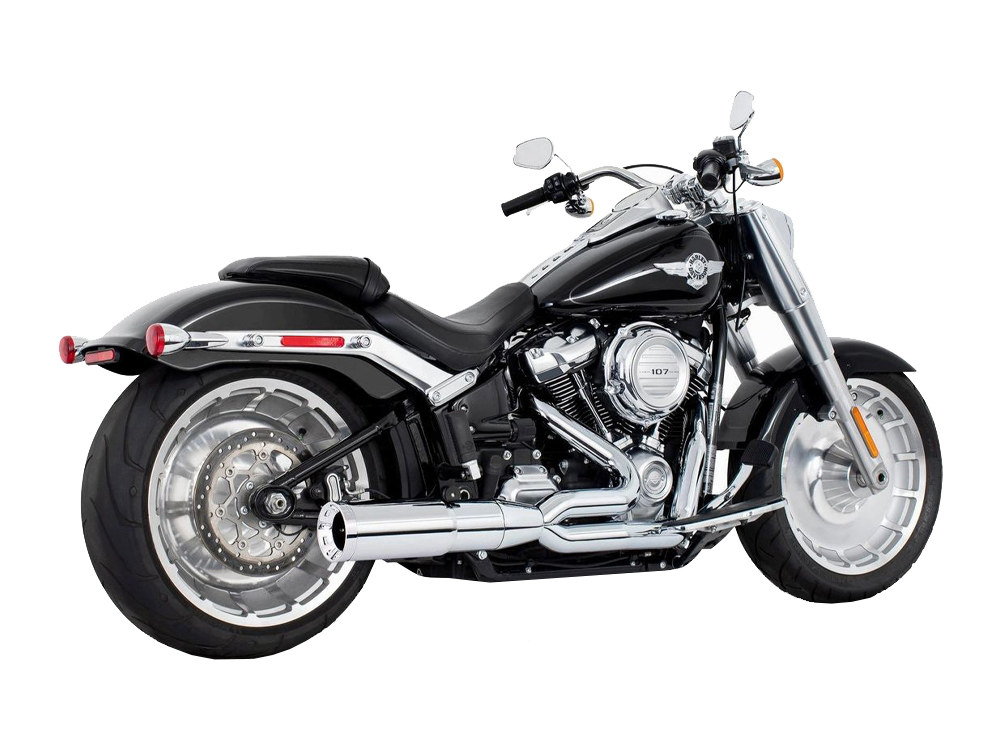 2-into-1 Two Step Exhaust - Chrome with Chrome End Cap. Fits Softail 2018up.