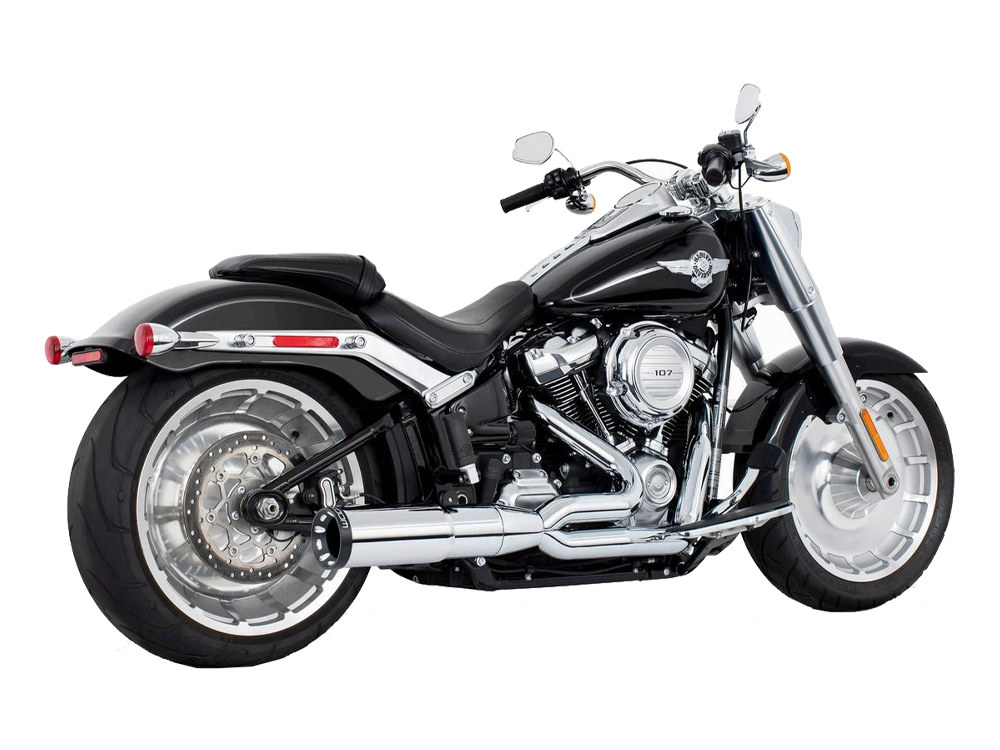 2-into-1 Two Step Exhaust – Chrome with Black End Cap. Fits Softail 2018up.