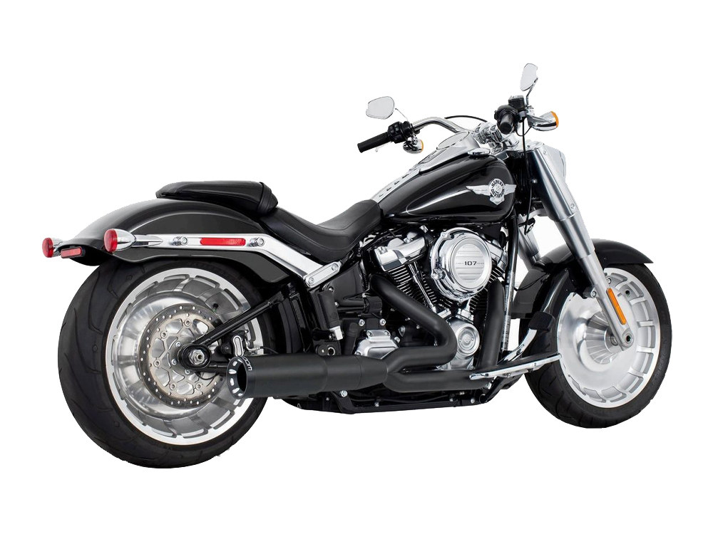 2-into-1 Two Step Exhaust – Black with Black End Cap. Fits Softail 2018up.