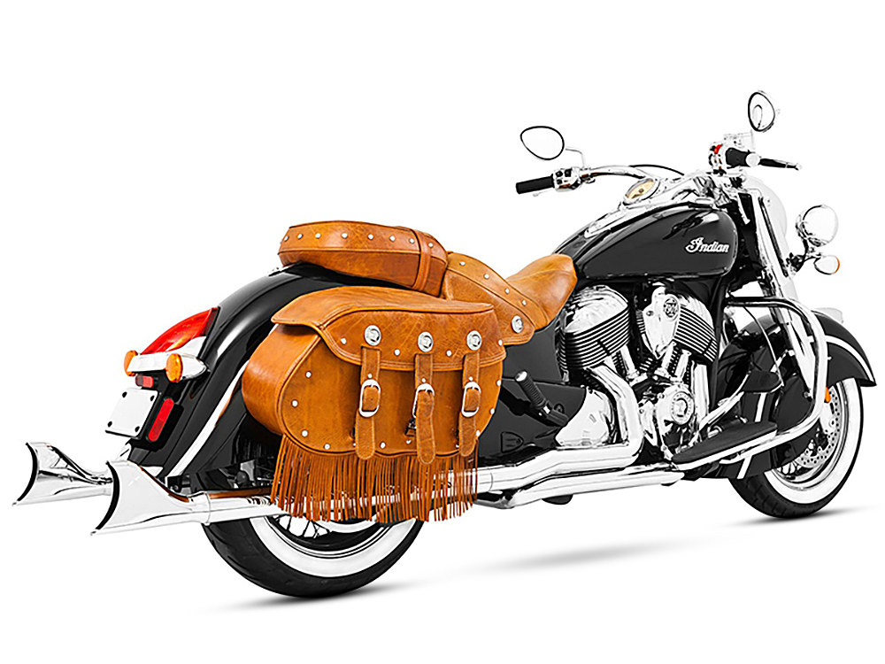True Dual Exhaust - Chrome with Chrome Sharktail End Caps. Fits Indian Vintage Chief Classic & Vintage Chief Dark Horse.</P><P></P><P>
