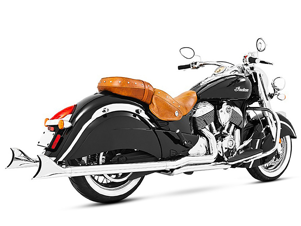 True Dual Exhaust - Chrome with Chrome Sharktail End Caps. Fits Chieftain 2014up & Roadmaster 2014up.</P><P>