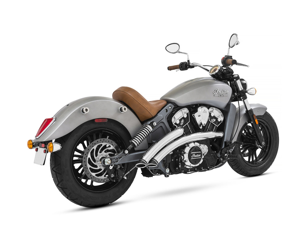 Radical Radius Exhaust - Chrome with Black End Caps. Fits Indian Scout 2015up.