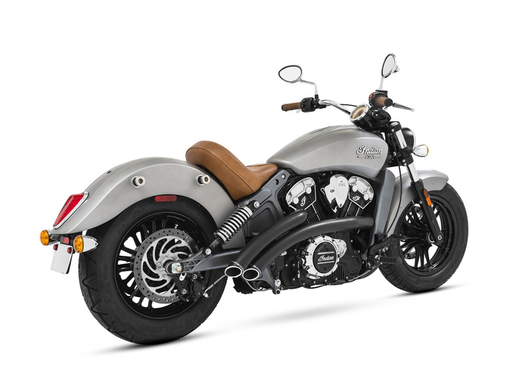 Radical Radius Exhaust with Black Finish & Black End Caps. Fits Indian Scout 2015up.