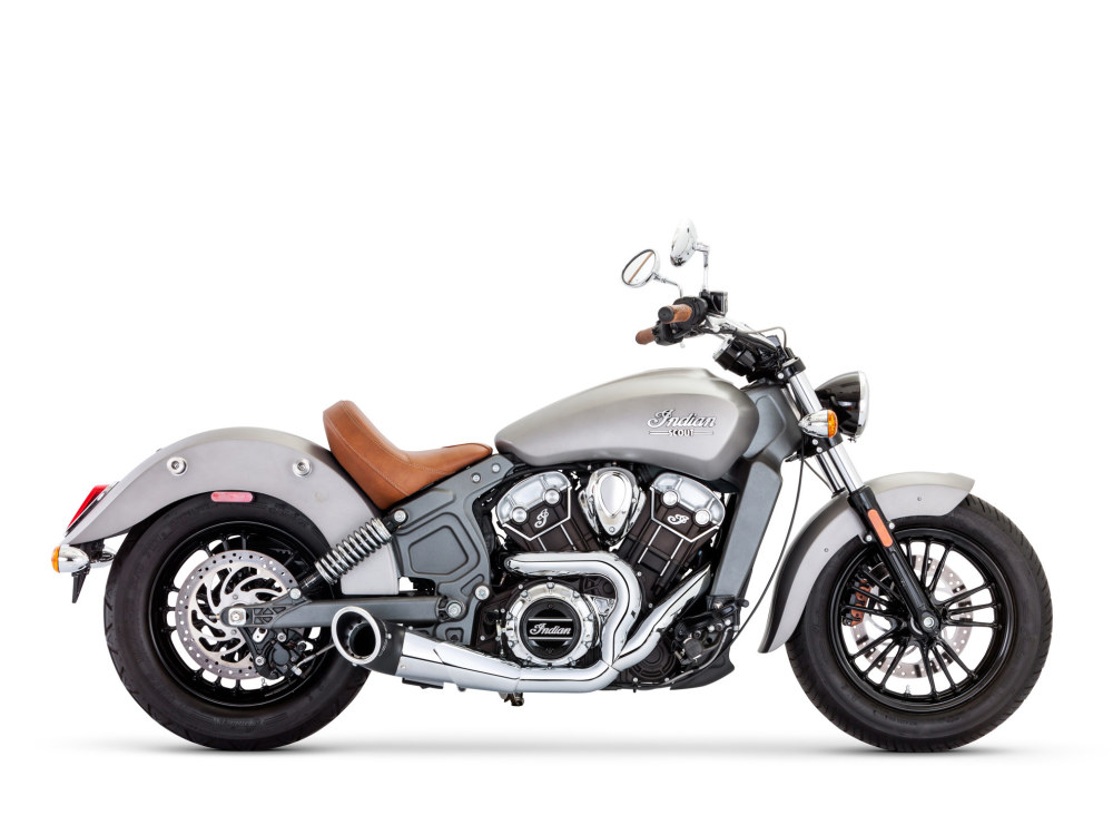 Turnout 2-into-1 Exhaust with Chrome Finish & Black End Cap. Fits Indian Scout 2015up.