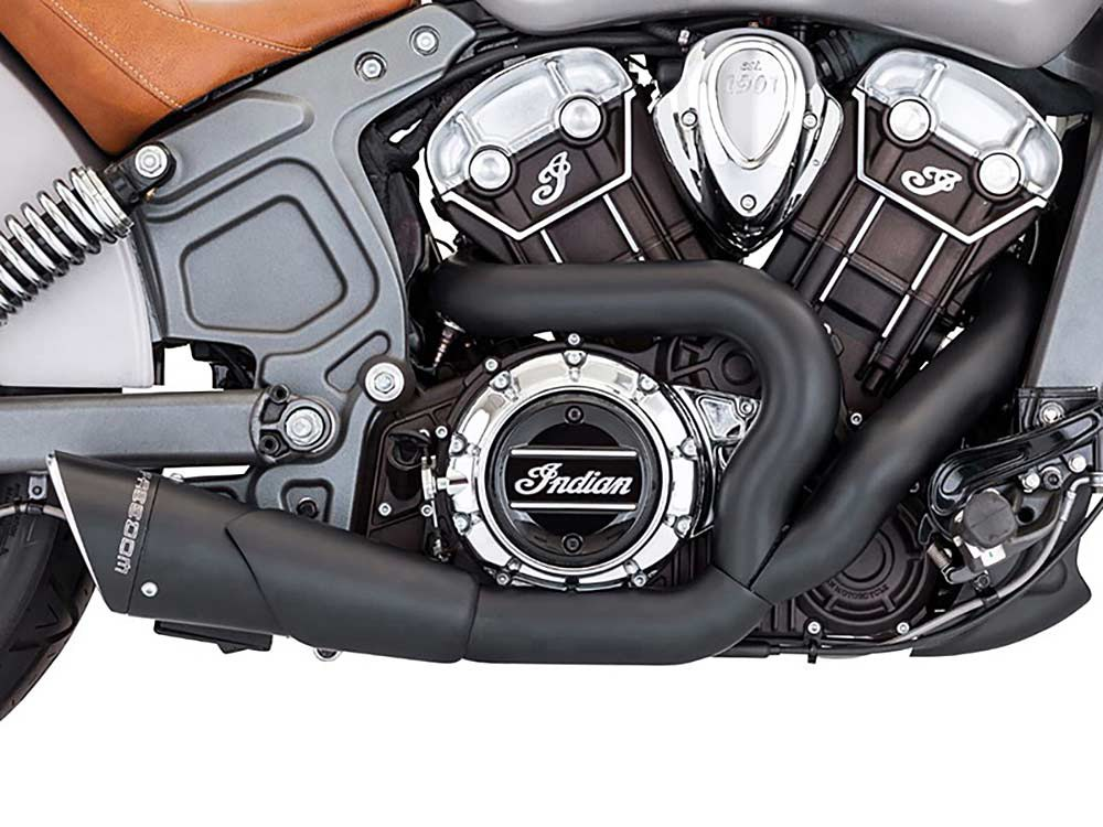Combat 2-into-1 Exhaust - Black with Black End Cap. Fits Indian Scout 2015up.