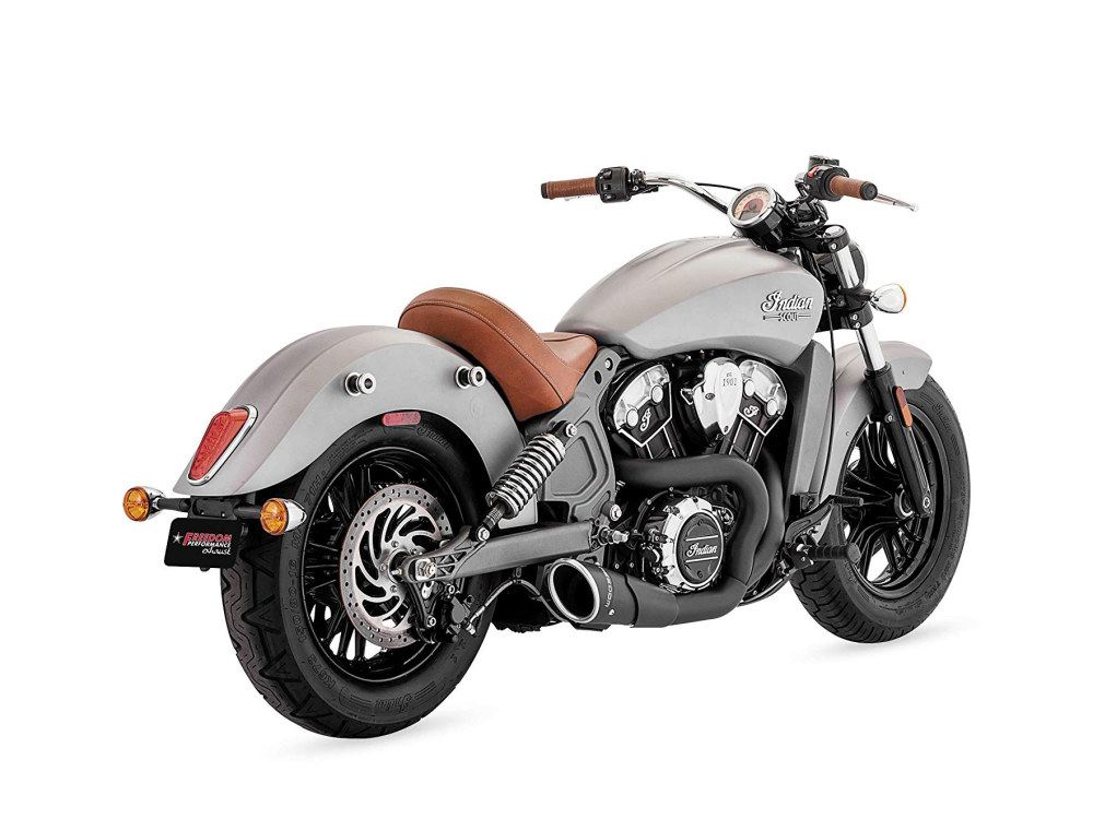 Combat 2-into-1 Exhaust with Black Finish & Black End Cap. Fits Indian Scout 2015up.