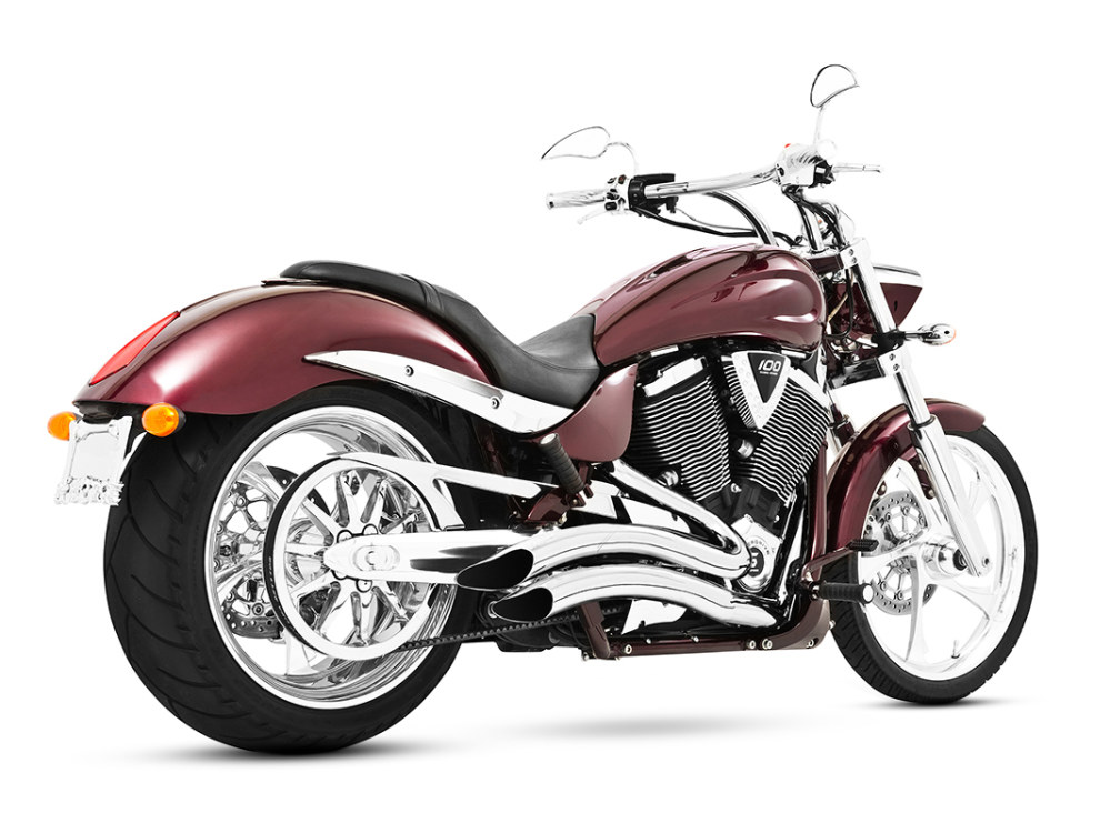Sharp Curve Radius Exhaust with Chrome Finish. Fits Victory Hammer & Victory Jackpot Models.