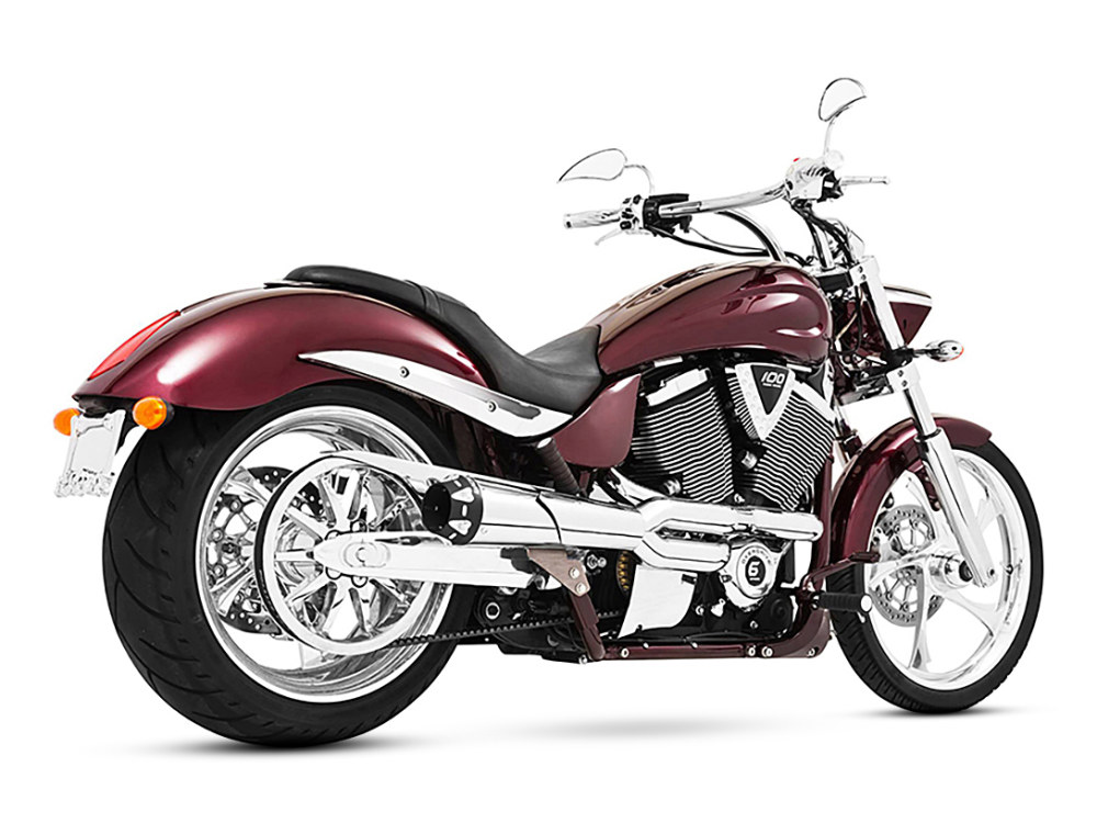 American Outlaw 2-into-1 Exhaust with Chrome Finish & Black End Cap. Fits Victory Hammer & Jackpot Models.