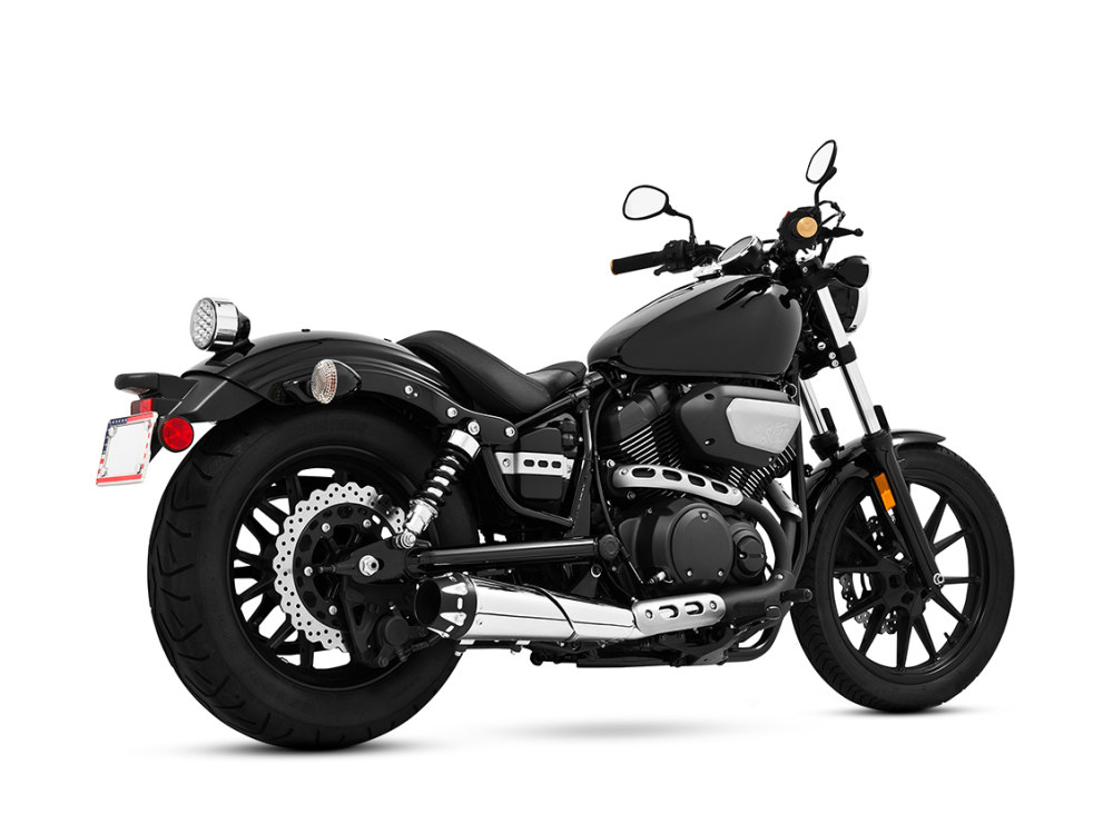 Outlaw Slip-On Muffler with Chrome Finish & Black End Caps. Fits Yamaha Bolt 2013up. (Each)