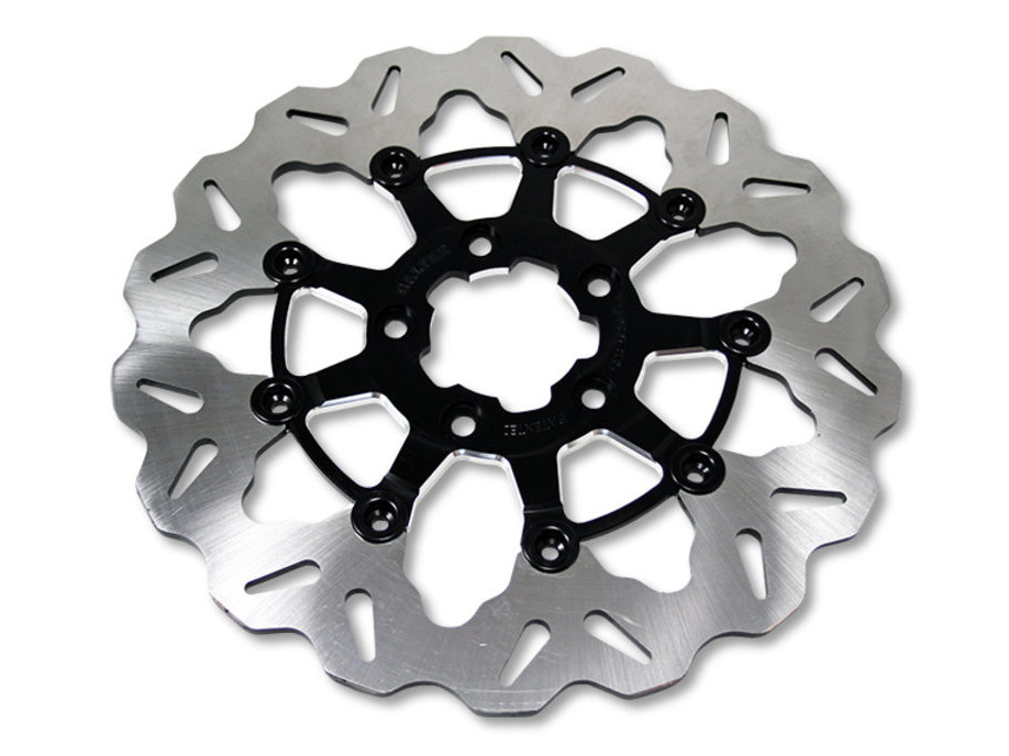 11.5in. Rear Floating Wave Disc Rotor with Clear Anodized Silver Carrier. Fits Big Twin & Sportster 2000up.