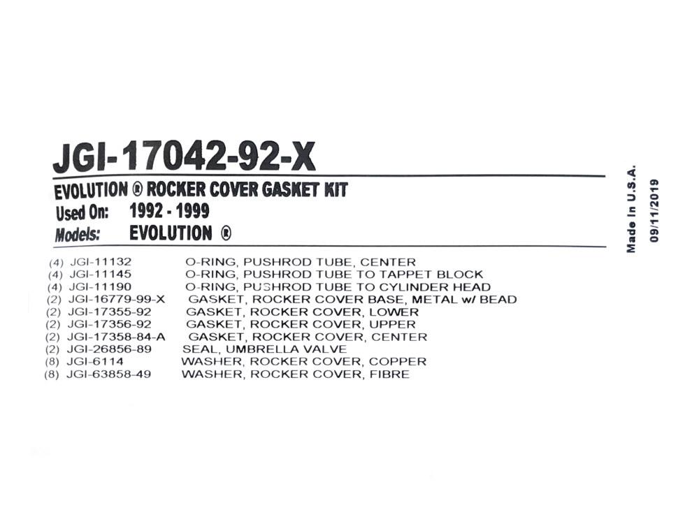 1992-1999 HARLEY DAVIDSON Evolution rubber lower upper rocker cover gasket set