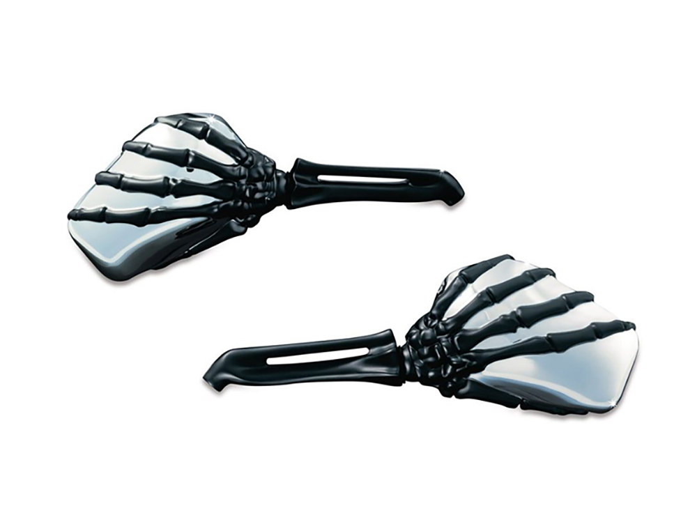 Mirror; Skeleton Hand Blk Stem/Chr Head (Pair)