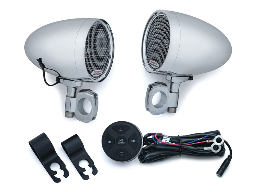 Road Thunder Speaker Pods & Bluetooth Audio Controller by MTX – Chrome.