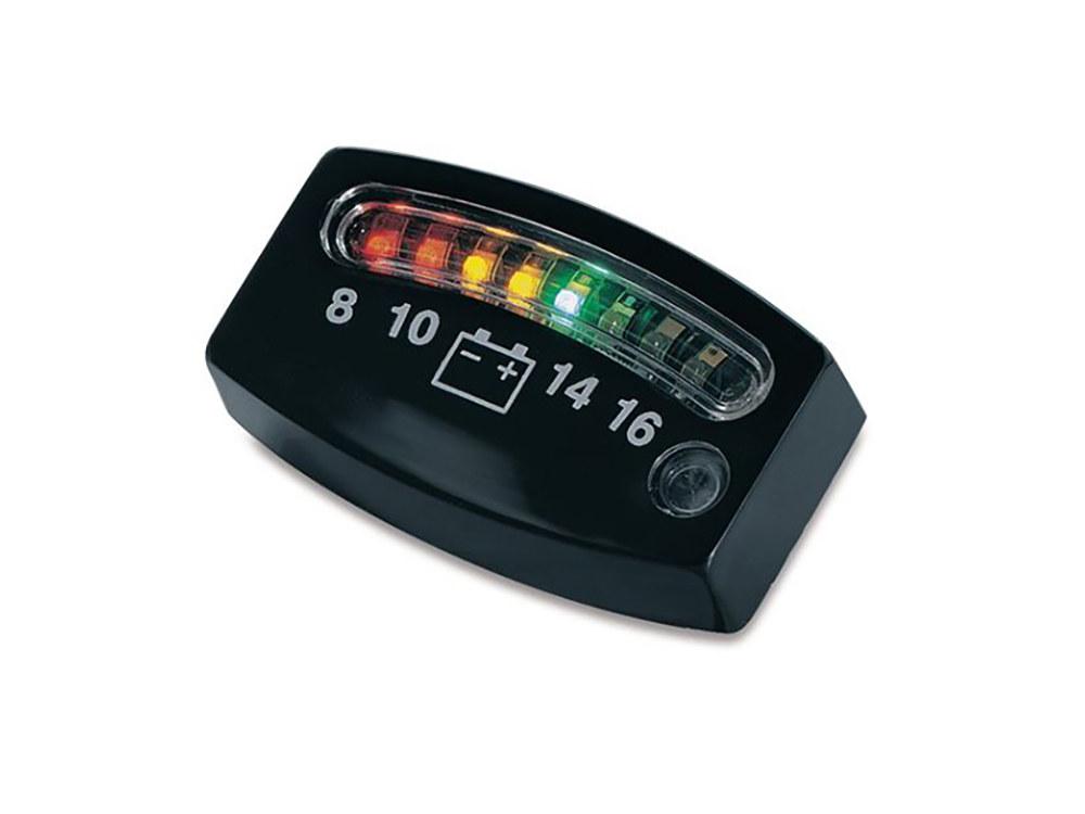 Battery Gauge; w/Indicator LED Lights (Uni Fit) Blk