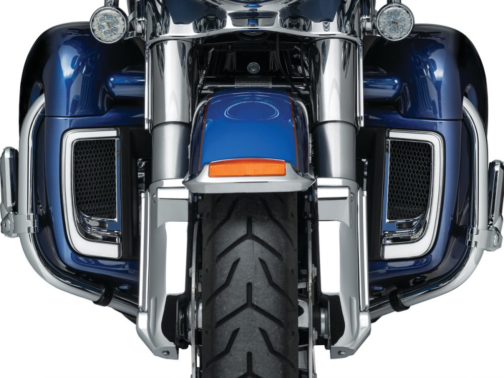Tracer L.E.D. Fairing Lower Grills – Chrome. Fits Touring 2014 with Fairing Lowers.