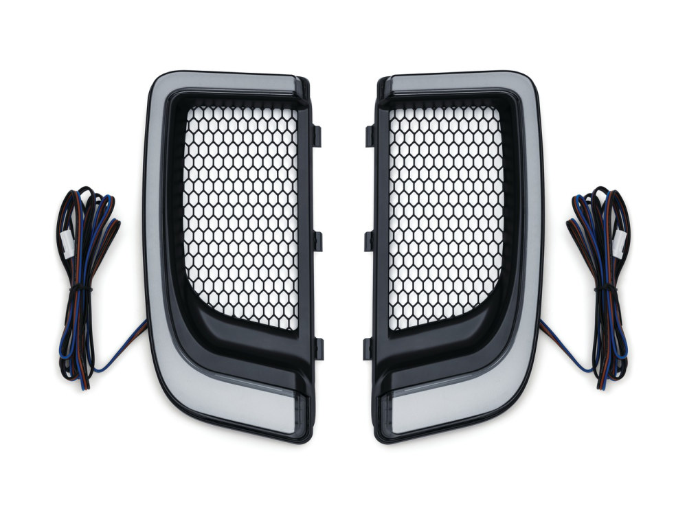 Tracer L.E.D. Fairing Lower Grills – Black. Fits Touring 2014 with Fairing Lowers.