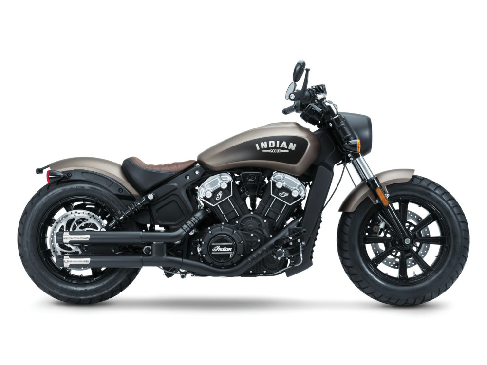 2-1/2in. Maverick Slip-On Mufflers - Matte Black with Black Ceramic End Caps. Fits Indian Scout 2015up.