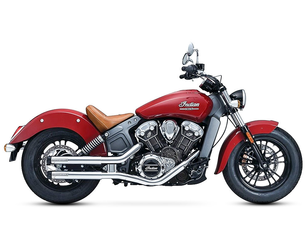 2-1/2in. Maverick Slip-On Mufflers - Chrome with Black Ceramic End Caps. Fits Indian Scout 2015up.