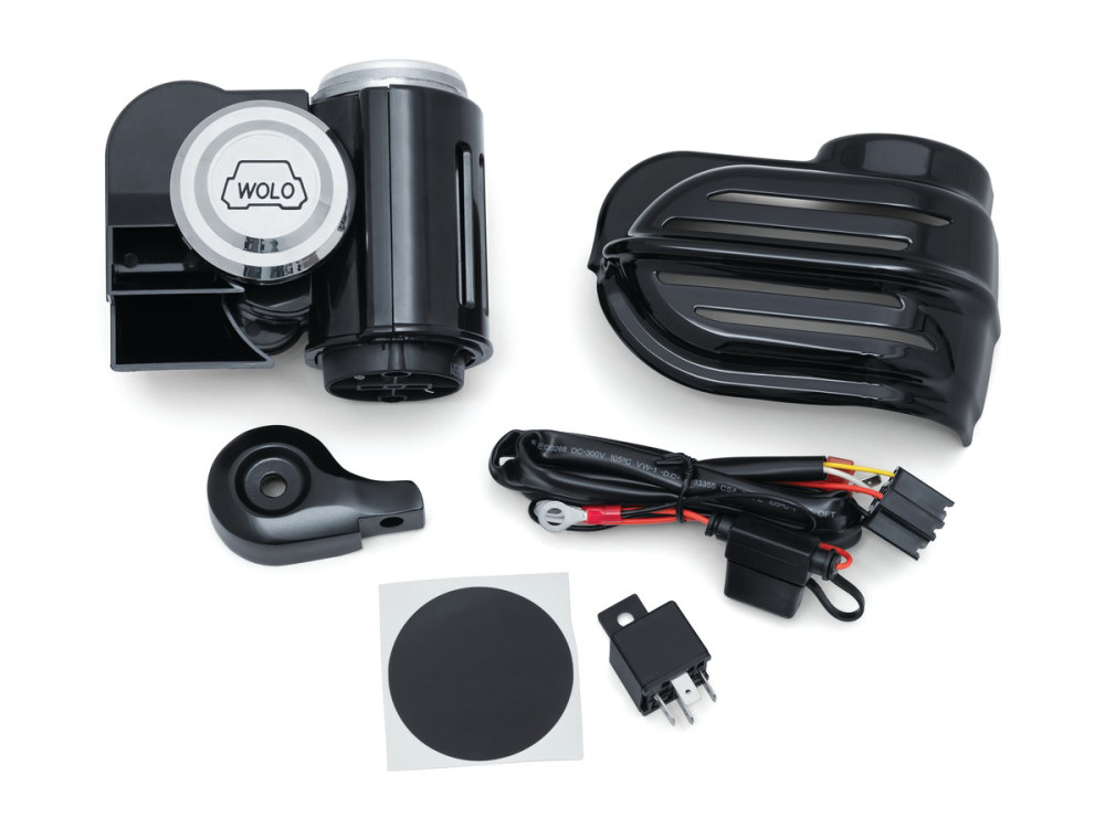 Super Deluxe Wolo Bad Boy Air Horn Kit with Black Cover. Fits Big Twin & Sportster 1992up with Stock Cowbell Horn.