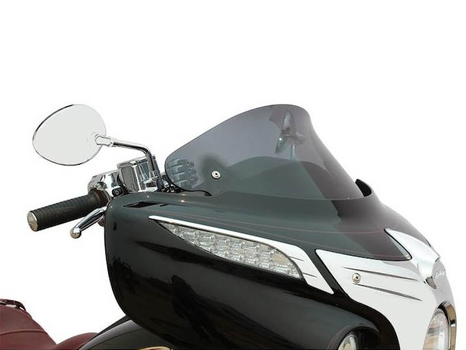 10in. Flare Windshield – Dark Smoke Tinted. Fits Indian 2014up.